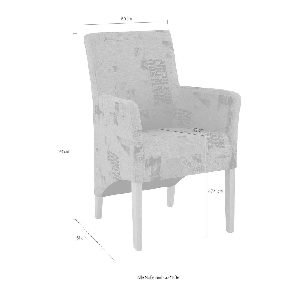 Home affaire Armlehnstuhl »Melissa«, Beine aus massiver Buche, wengefarben lackiert