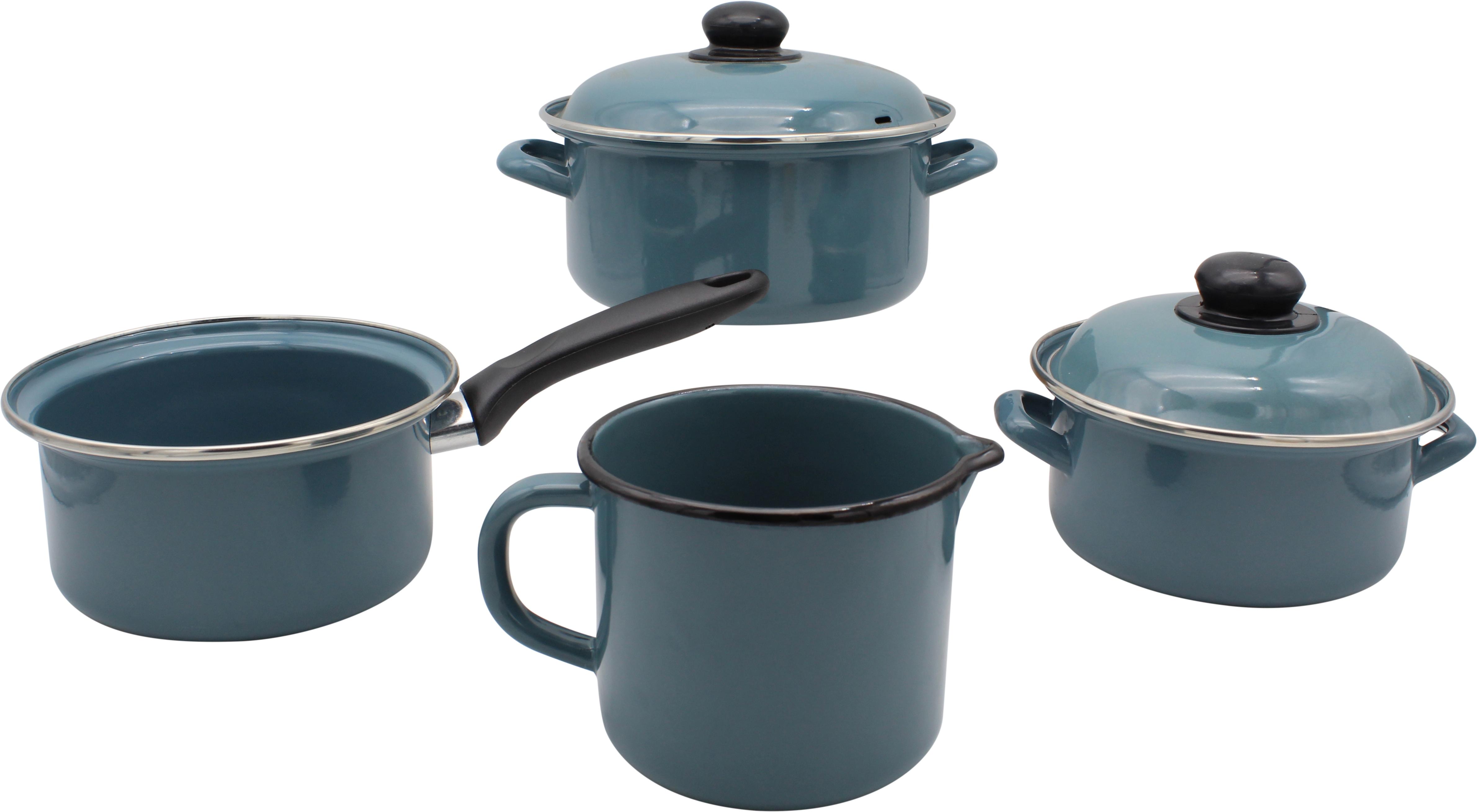 Krüger Kochtopf Petrol, Emaille, (Set, 6 tlg.), Induktion blau Topfsets Töpfe Haushaltswaren