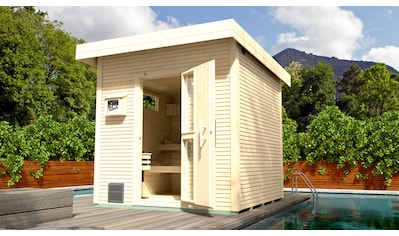 WEKA Saunahaus »Svendborg«, 262x298x253 cm, 45 mm, natur, 9 - kW - Ofen mit ext. Steuerung kaufen