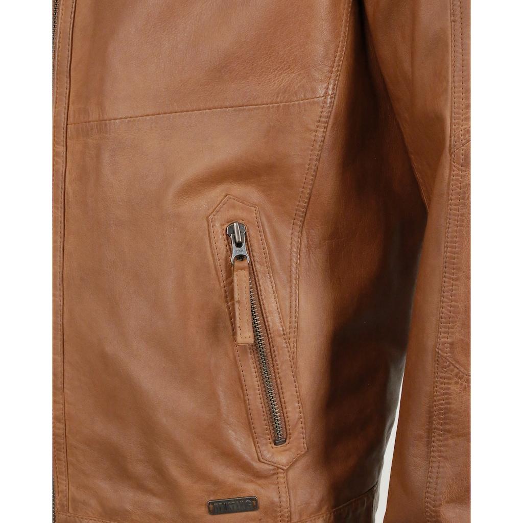 MUSTANG Lederjacke »Max«, mit Reißverschluss und Stehkragen