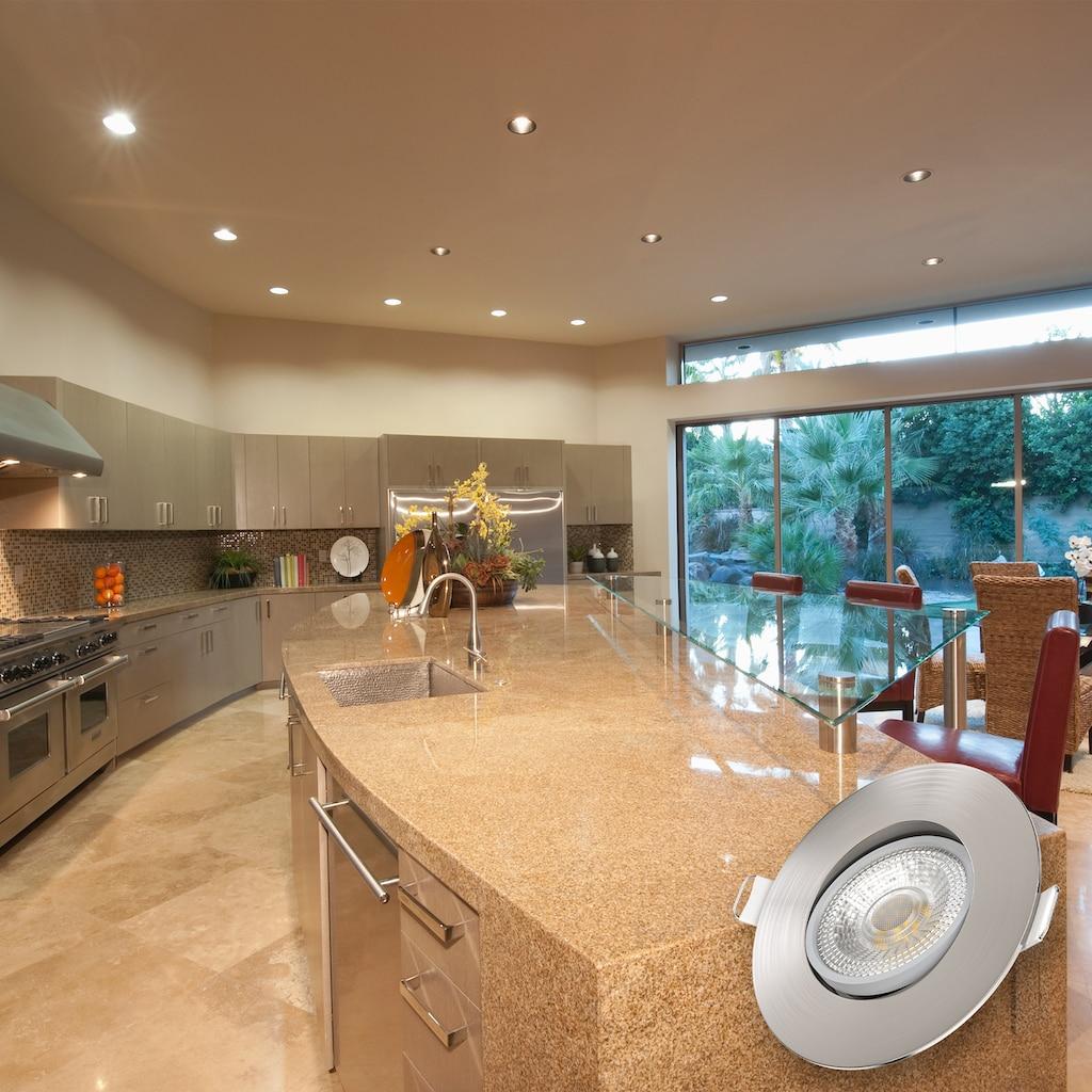 B.K.Licht LED Einbaustrahler, LED-Board, 5 St., Warmweiß, LED Einbauleuchte dimmbar Deckenlampe Einbauspots schwenkbar 5W Strahler 6er SET