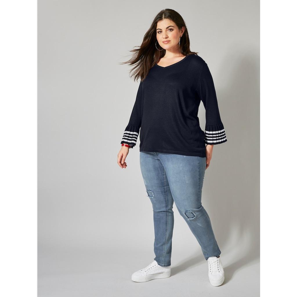 Sara Lindholm by Happy Size Slim Fit Jeans mit Destroyed-Effekt