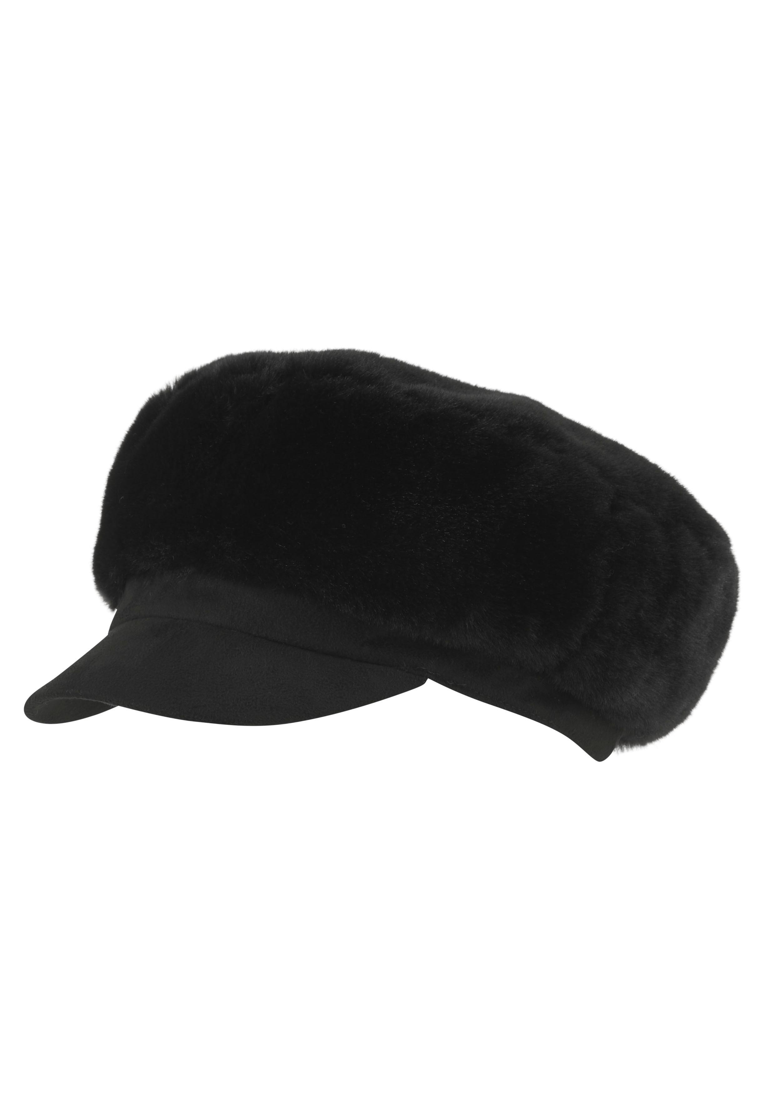 Seeberger Schirmmütze, Mit weichem Kunstfellbesatzt schwarz Damen Schirmmütze
