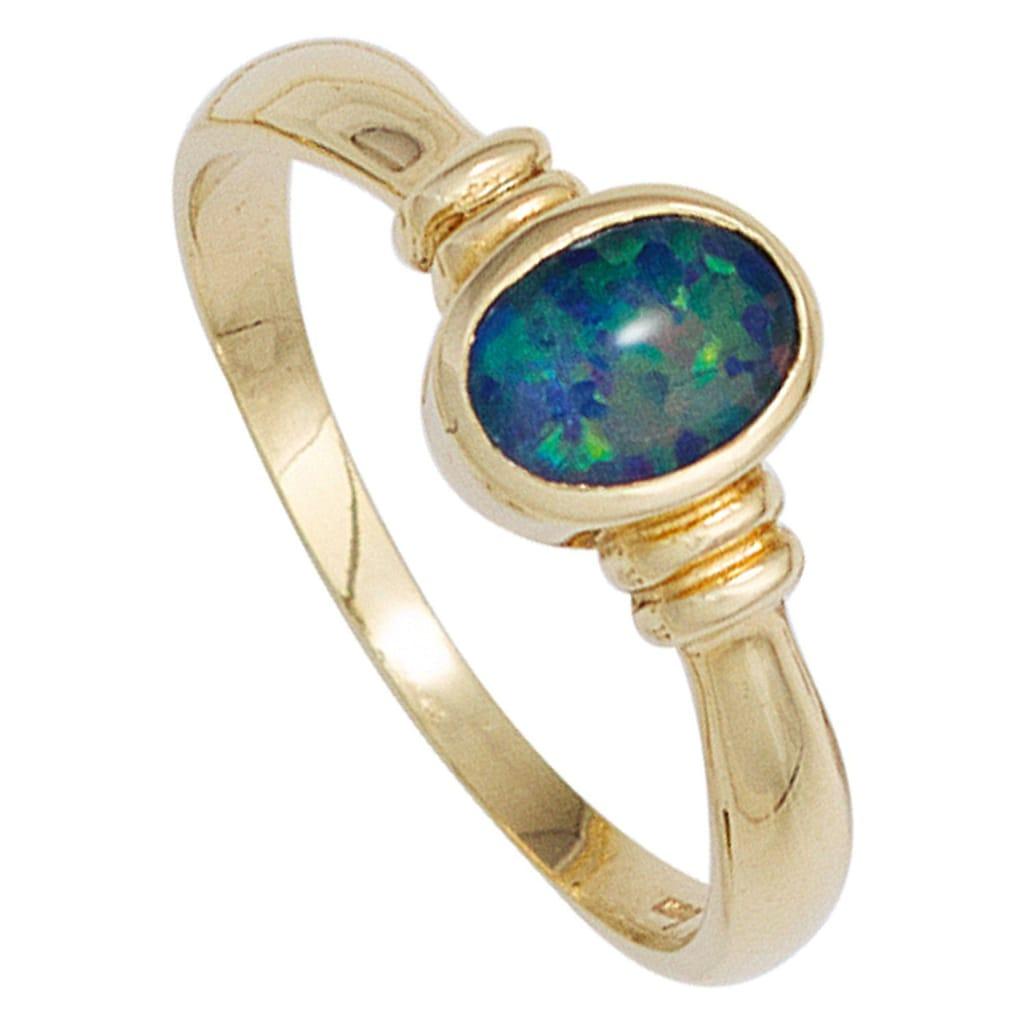 JOBO Goldring, 585 Gold mit Opal-Triplette
