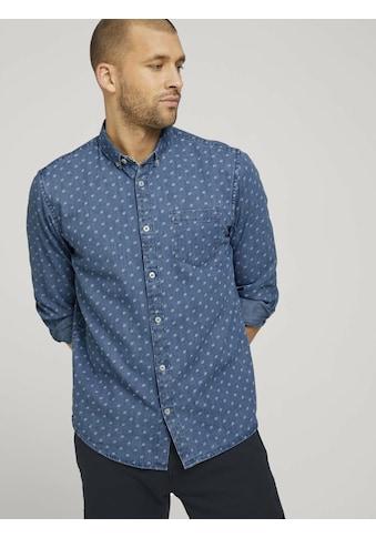 TOM TAILOR Langarmhemd »gemustertes Jeanshemd mit Bio-Baumwolle« kaufen