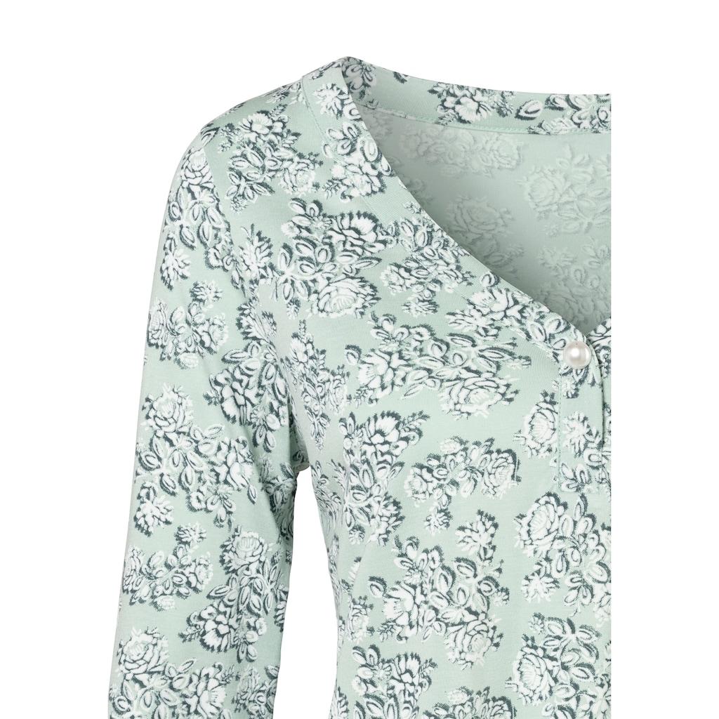 LASCANA 3/4-Arm-Shirt, mit großer Kunstperle