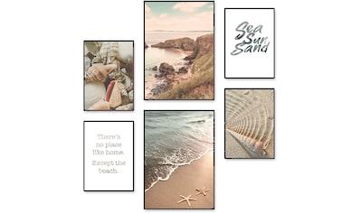 Artland Poster »Urlaubsgefühle«, Strand, (6 St.), Poster, Wandbild, Bild, Wandposter kaufen