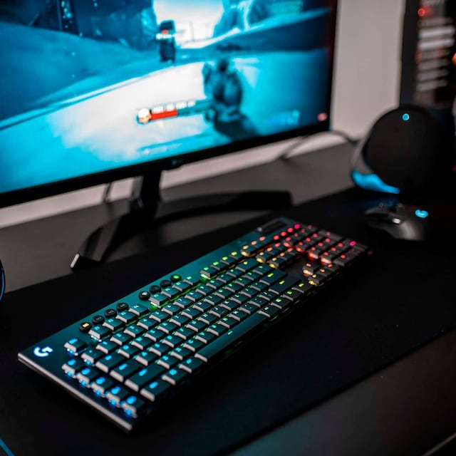 Logitech G »G915 LIGHTSPEED Wireless RGB Mechanical Gaming Keyboard - GL Clicky - CARBON« Gaming-Tastatur