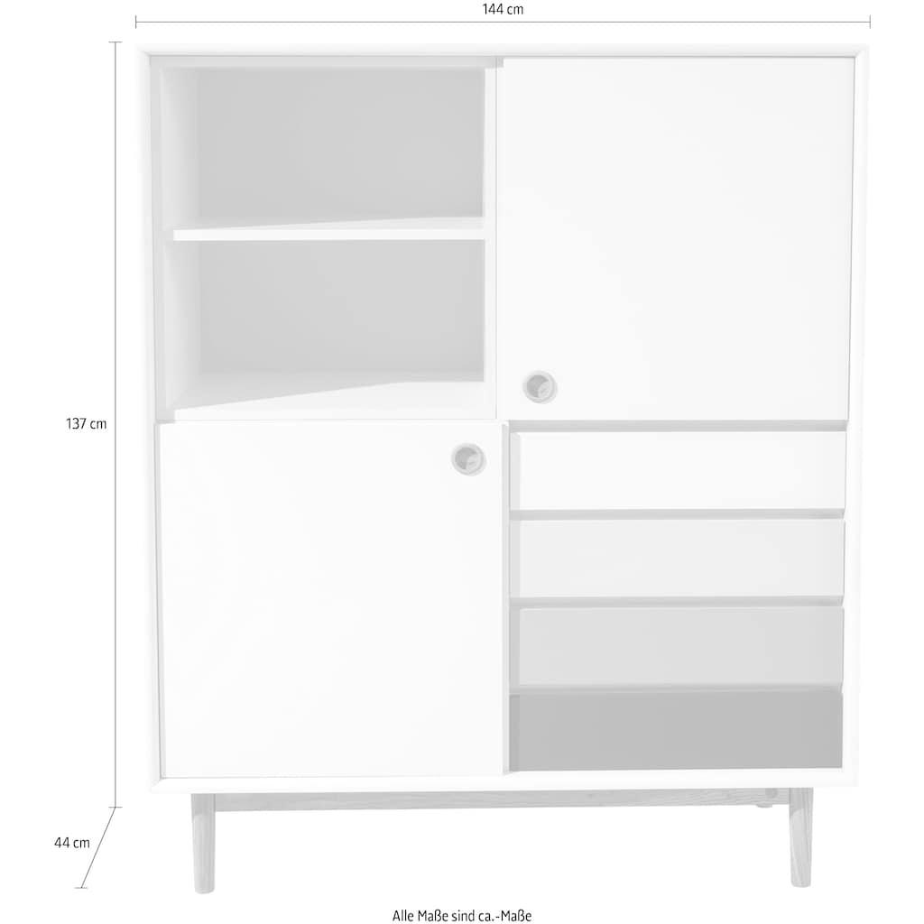 TOM TAILOR Highboard »COLOR BOX«, mit 2 Türen, 4 Kontrast-Schubladen & Kontrast-Regaleinsatz, Füße Eiche geölt, Breite 114 cm