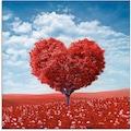 Artland Glasbild »Baum in Form eines Herzens«, Herzen, (1 St.)