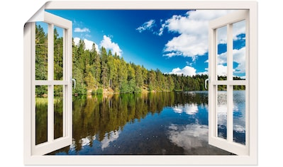 Artland Wandbild »Fensterblick Norwegische Landschaft«, Fensterblick, (1 St.), in vielen Größen & Produktarten - Alubild / Outdoorbild für den Außenbereich, Leinwandbild, Poster, Wandaufkleber / Wandtattoo auch für Badezimmer geeignet kaufen