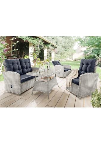 DESTINY Loungeset »Merano II «, 11 - tlg., 2 Sessel, 2er - Sofa, Tisch, Polyrattan kaufen