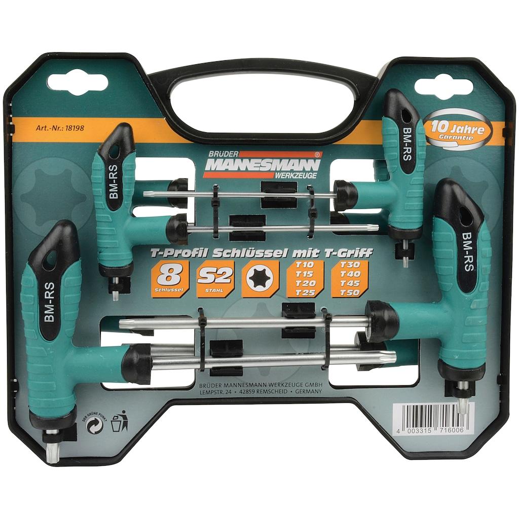 Brüder Mannesmann Werkzeuge Werkzeugset »T-Griff Schlüsselsatz«, 8-tlg., für schwer zugängliche Stellen