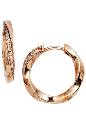 JOBO Paar Creolen, 585 Roségold mit 30 Diamanten kaufen
