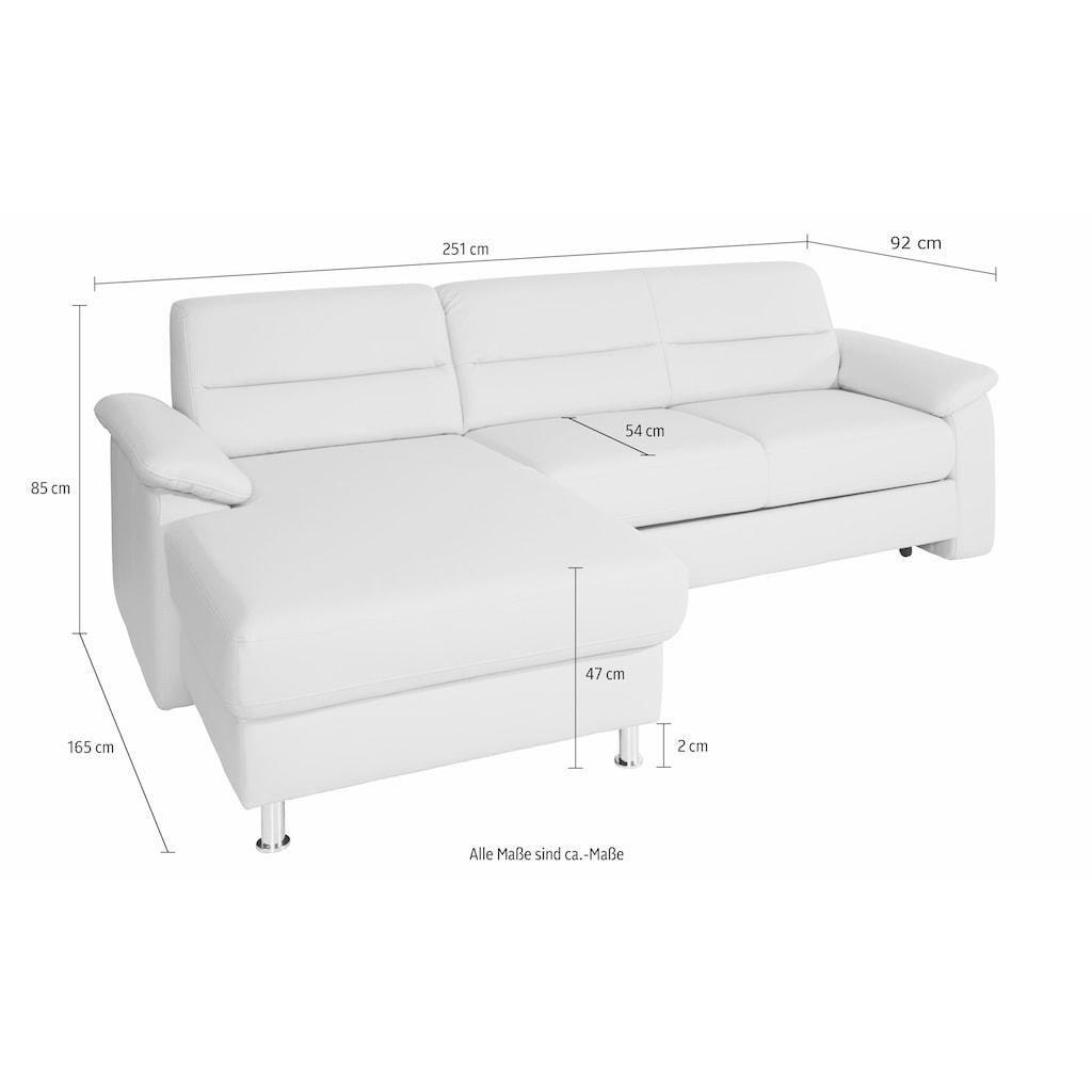 sit&more Ecksofa, inklusive Boxspring/Federkern-Polsterung, inklusive komfortablem Federkern, wahlweise mit Bettfunktion