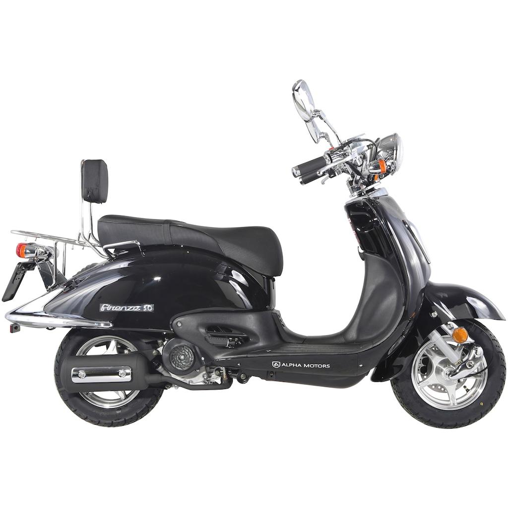 Alpha Motors Motorroller »Retro Firenze«, 3 PS, 50 ccm, 45 km/h, schwarz inkl. Topcase