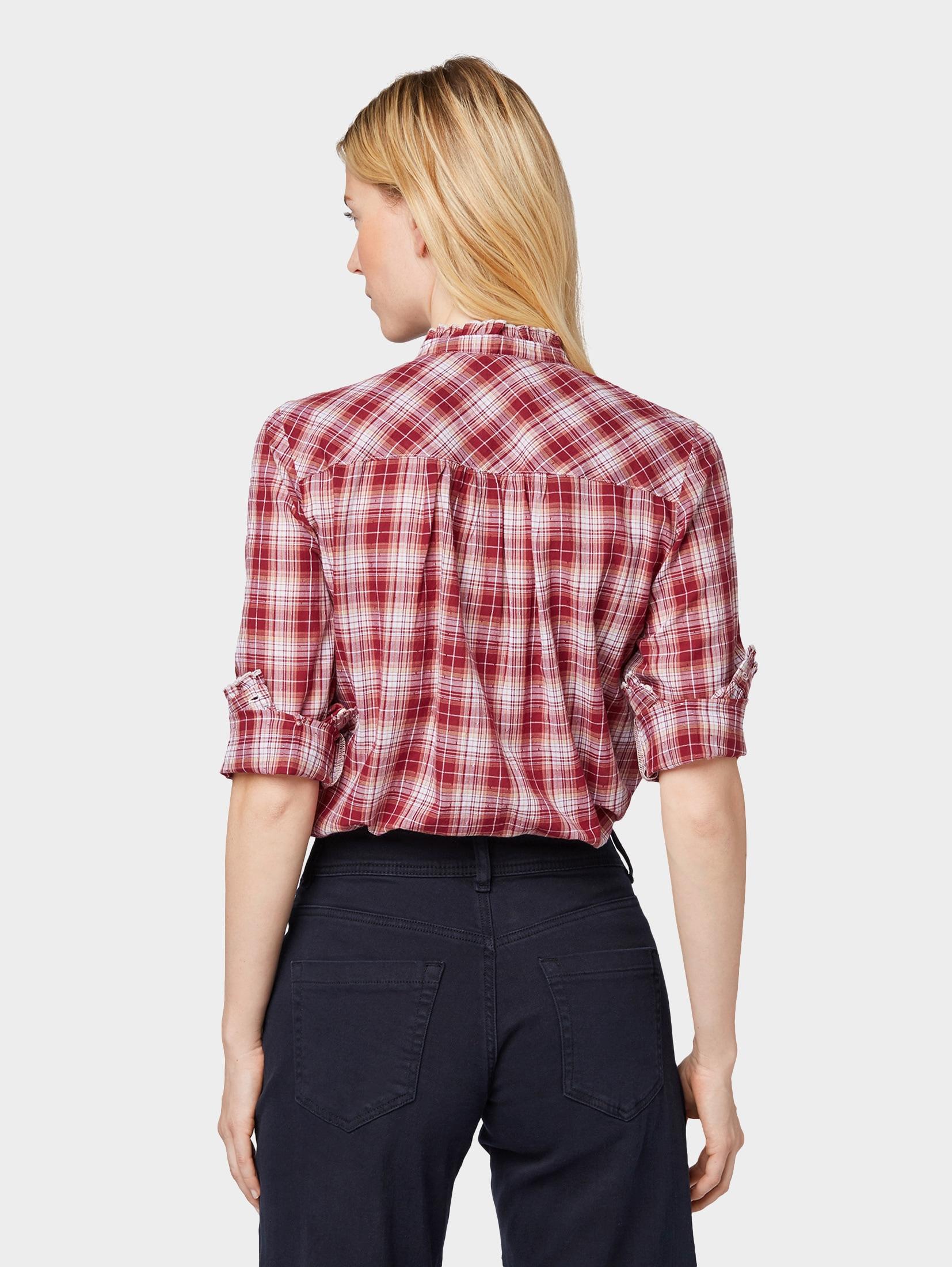 TOM TAILOR Hemdbluse Bluse mit strukturiertem Karomuster