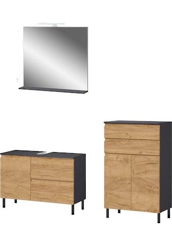 GERMANIA Badmöbel-Set »Scantic«, (Set, 3 tlg.), aus Spiegel, Waschbeckenunterschrank, Badkommode, inklusive Beleuchtung, grifflose Optik, MDF-Fronten kaufen
