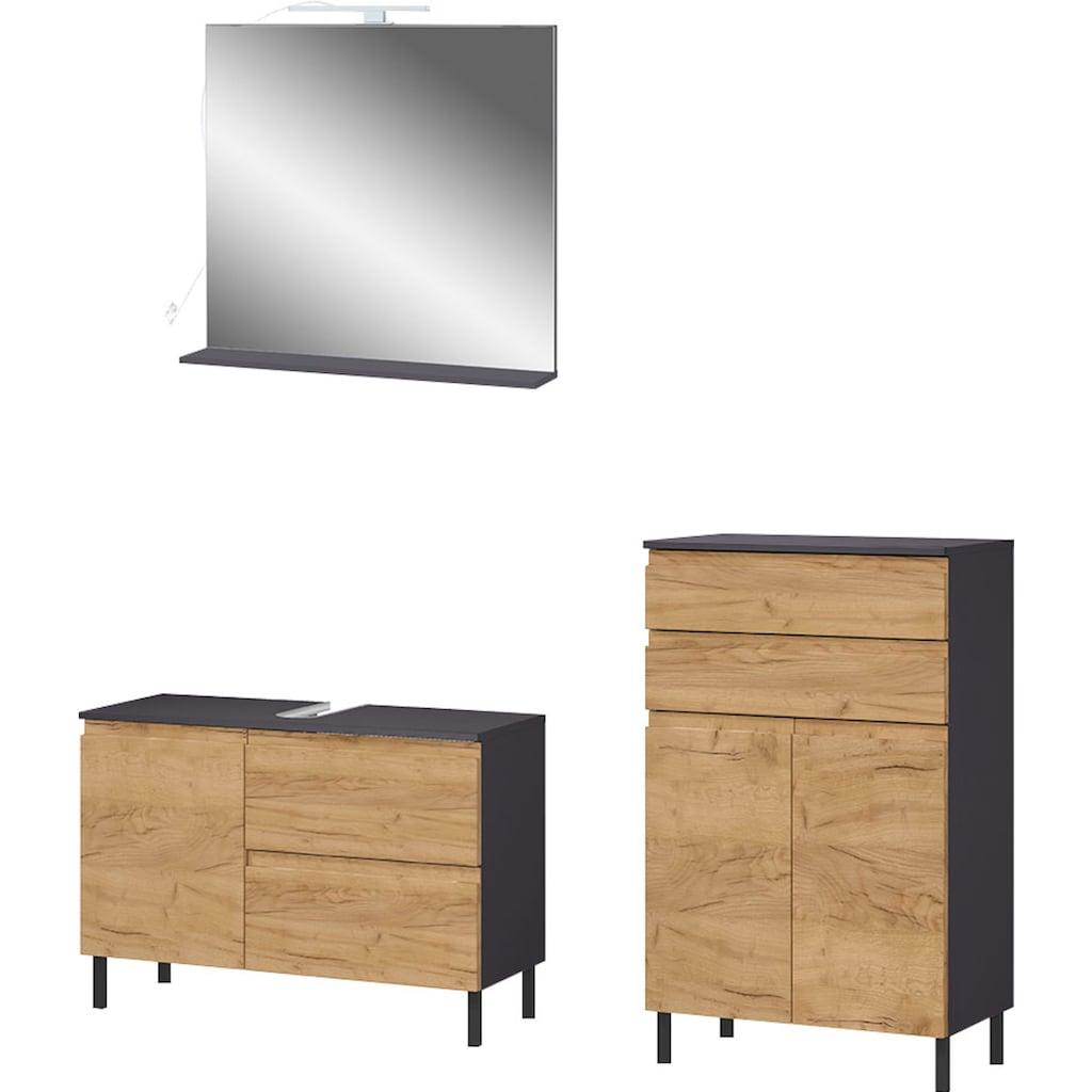 GERMANIA Badmöbel-Set »Scantic«, (Set, 3 St.), aus Spiegel, Waschbeckenunterschrank, Badkommode, inklusive Beleuchtung, grifflose Optik, MDF-Fronten