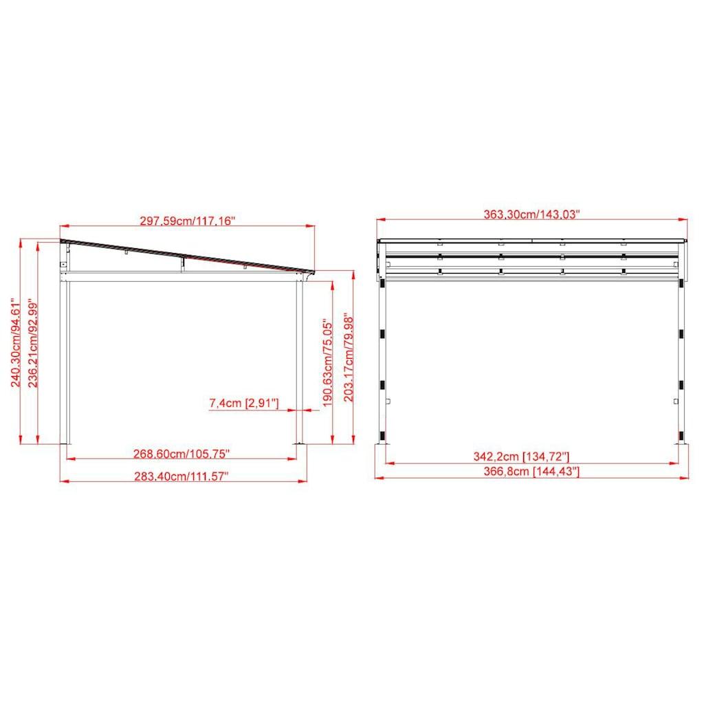 Sojag Anbaupavillon »St. Barthelemy 10x12 anthrazit«, BxTxH: 363x297x240 cm