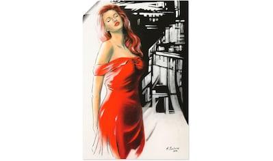 Artland Wandbild »Schönheit im roten Kleid«, Frau, (1 St.), in vielen Größen &... kaufen