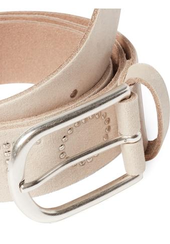 TOM TAILOR Ledergürtel »Velours - Leder Gürtel mit Nieten - Schriftzug« kaufen