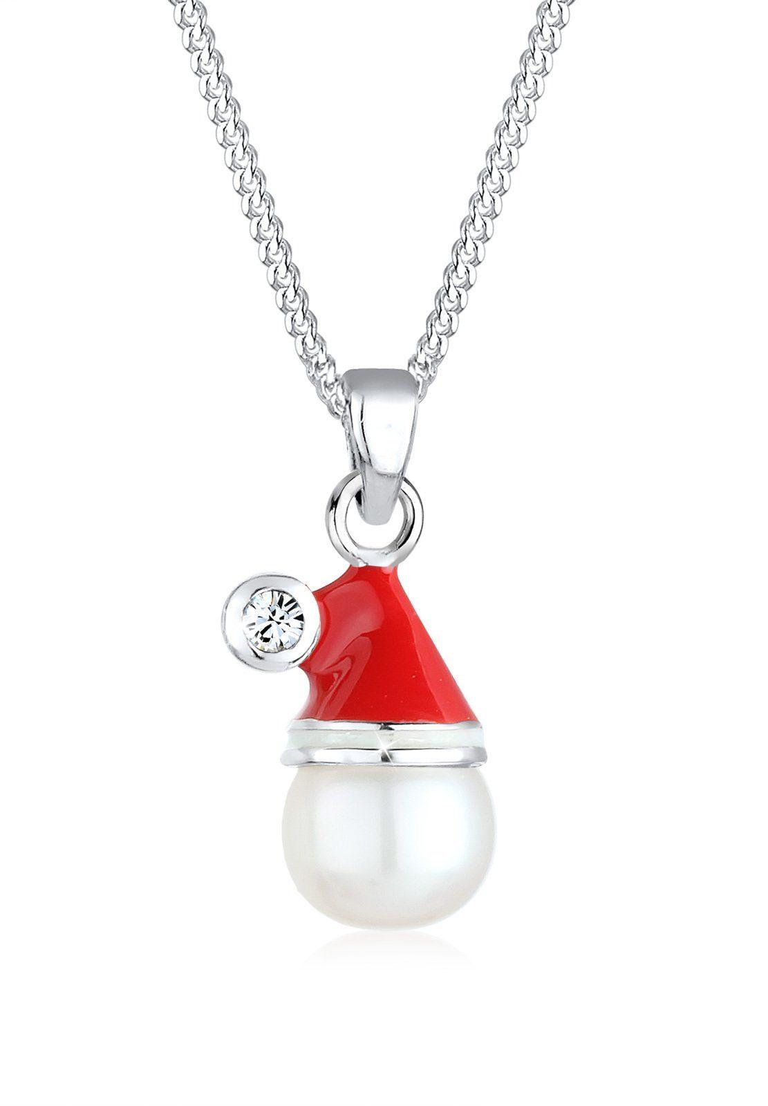 Elli Perlenkette Weihnachtsmannmütze Swarovski Kristall 925 Silber | Schmuck > Halsketten > Perlenketten | Rot | Elli