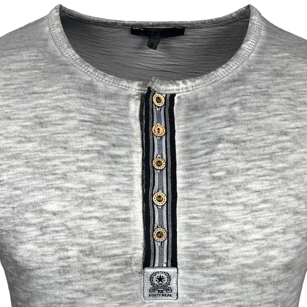 Rusty Neal T-Shirt mit auffälliger Knopfleiste