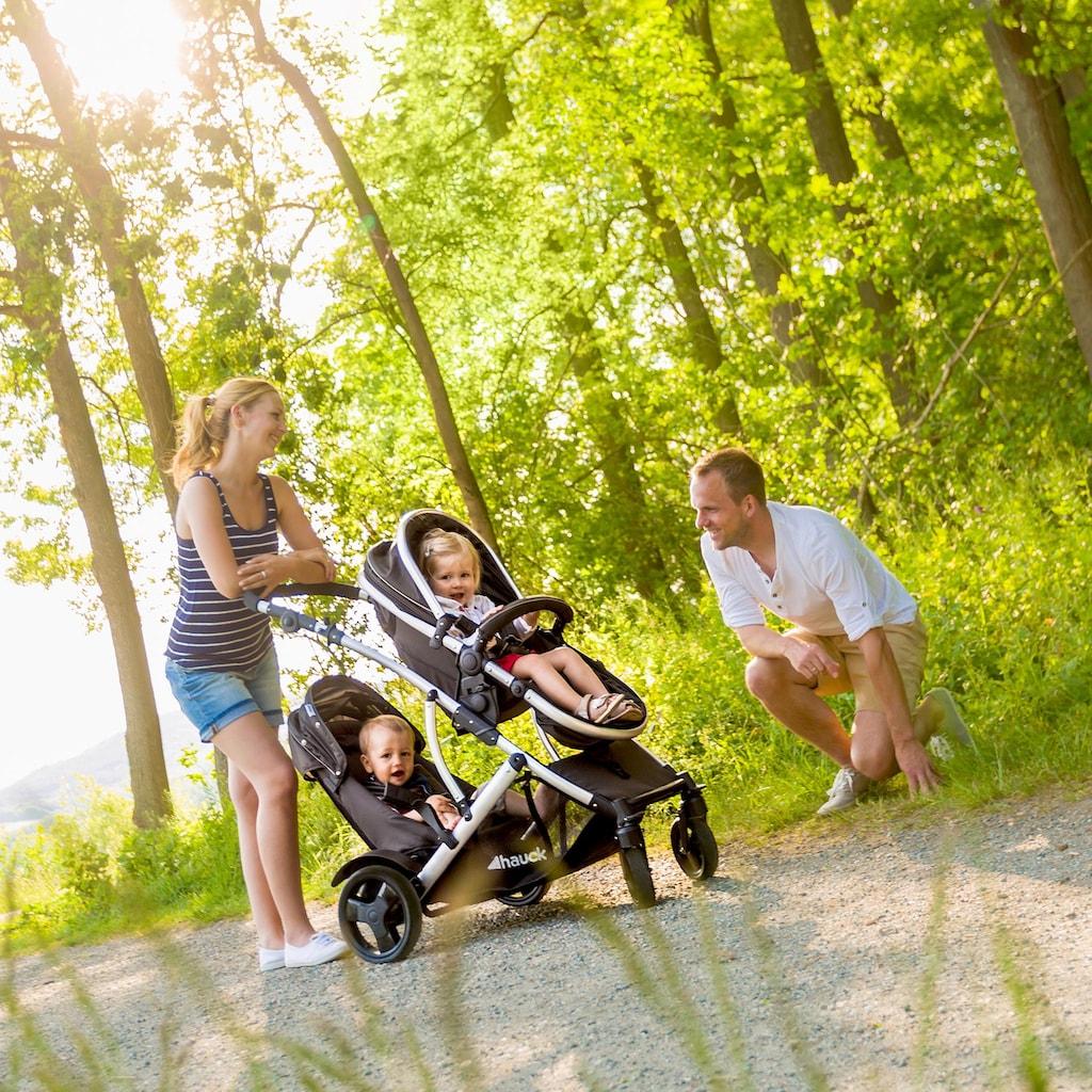 Hauck Geschwisterwagen »Duett 2 Black«, 15 kg, mit Regenschutz; Kinderwagen, Kinderwagen für Geschwister; Geschwisterkinderwagen