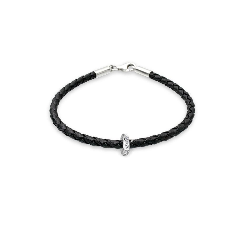 Elli Armband »Leder mit Bead Kristalle 925 Silber«