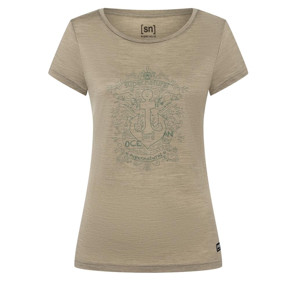 SUPER.NATURAL T-Shirt »W EXPLORE THE SEA TEE«, geruchshemmender Merino-Materialmix