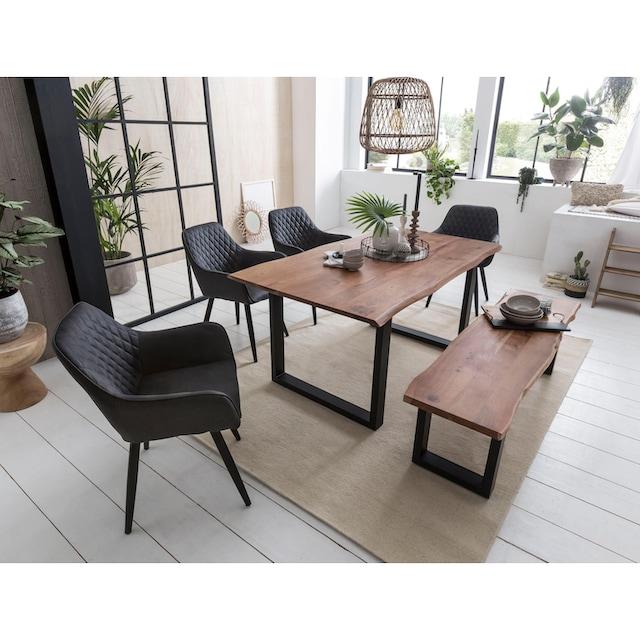 Home affaire Esstisch »Soho«, mit vollmassiver Akazienholzplatte mit Baumkante