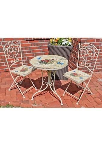 Garden Pleasure Gartenmöbelset »FLORAL«, 3-tlg., 2 Stühle, Tisch Ø 60 cm, Stahl, weiß kaufen