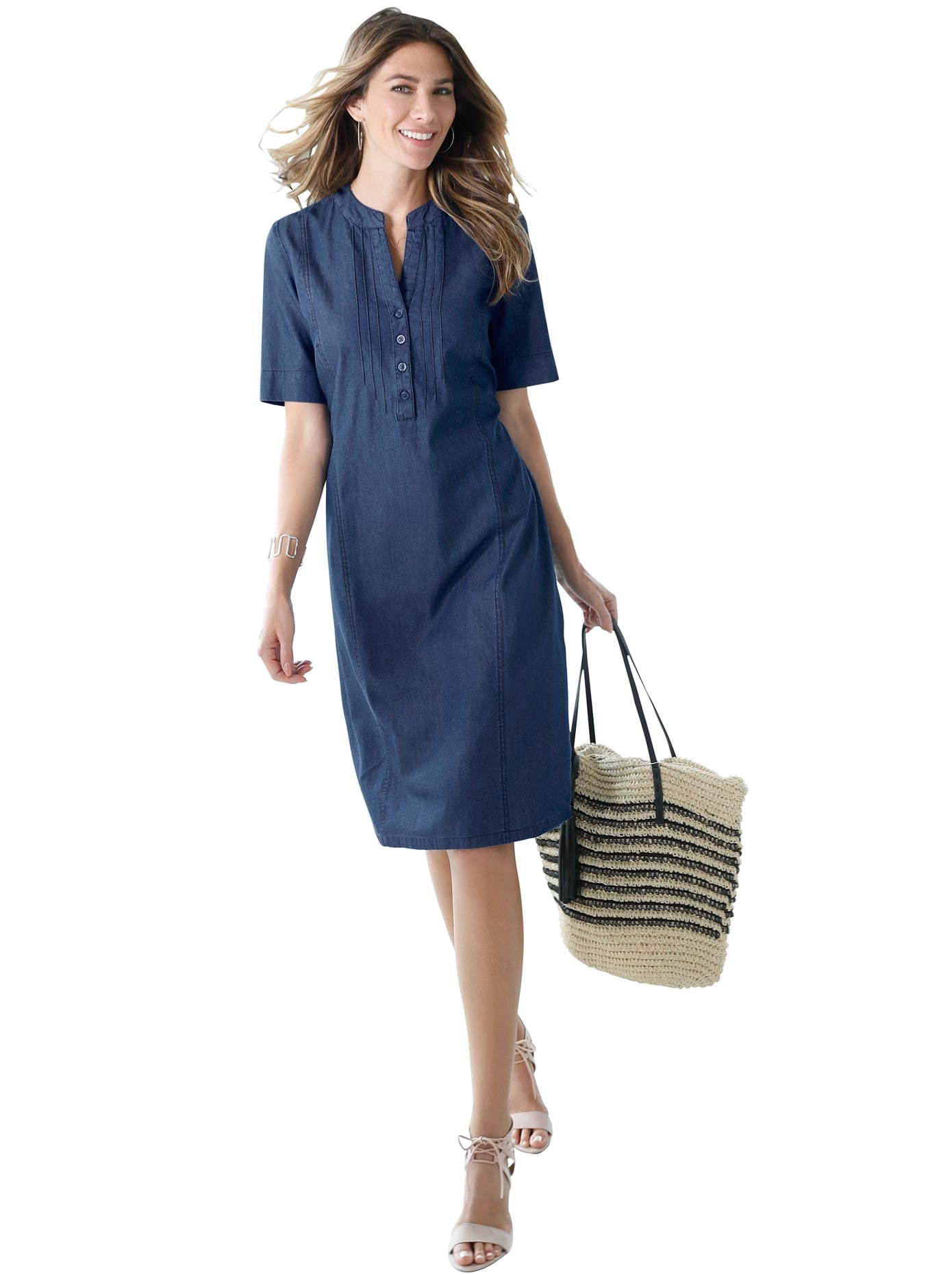 Classic Basics Jeans-Kleid mit dekorativer Biesenverzierung